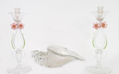A pair of glass candlestick with applied flowers, leaves and handles and a opalescent glass seashell