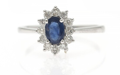 A sapphire and diamond ring set with an oval-cut sapphire encircled by numerous diamonds, mounted in 14k white gold. Size 52.5.