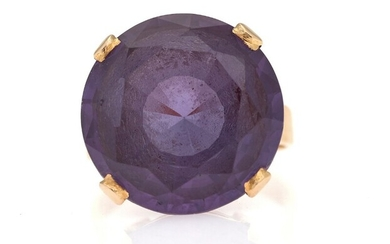 SOLD. A sapphire ring set with a circular-cut synthetic sapphire, mounted in 18k gold. Size...