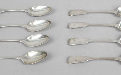 A selection of various George III to Victorian silver teaspoons, including many 19th century Fiddle pattern examples. (40)