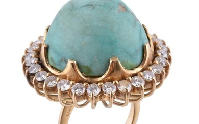 A turquoise and diamond ring by Sanz