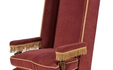 A walnut and velvet upholstered armchair