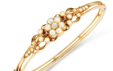 AN ANTIQUE PEARL AND DIAMOND BANGLE, 19TH CENTURY in