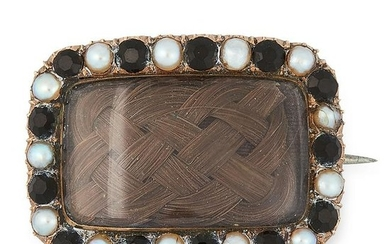 AN ANTIQUE PEARL, JET AND HAIRWORK MOURNING BROOCH