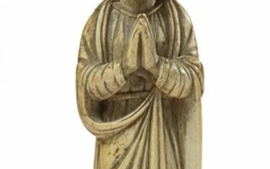 AN INDO-PORTUGUESE CARVED IVORY FIGURE OF THE VIRGIN