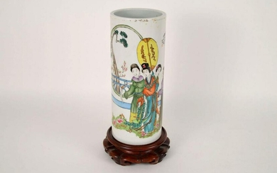 ANTIQUE CHINESE HAND-PAINTED CYLINDRICAL PORCELAIN VASE