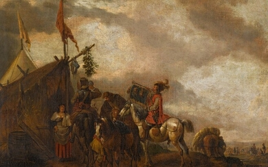 After Philip Wouwerman, Cavalry in front of a sutler's booth