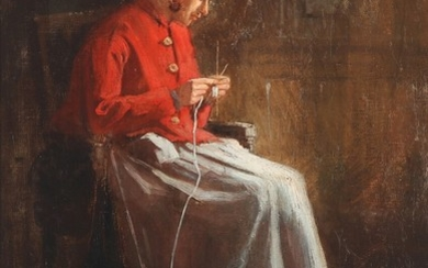 Alexandre Defaux: Knitting woman in a red jacket. Signed and dated A. Defaux 1868. Oil on canvas. 39×28.5 cm.