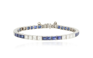 An Art Deco diamond and simulated sapphire bracelet