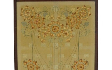 An Art Nouveau mahogany fire-screen with 'Glasgow School' Embroidered panel...