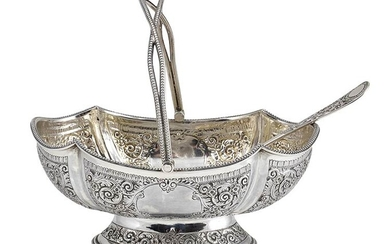 An English Victorian sterling silver sugar basket - London 1879,...