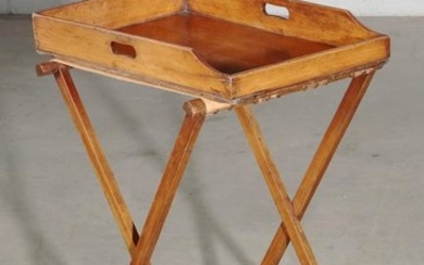 An English mahogany butler s tray on stand