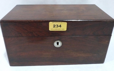 An early Victorian rosewood tea caddy. 10' wide