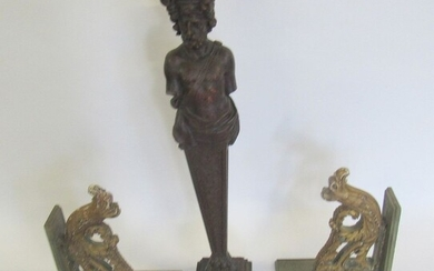 Antique Carved Wood Figure & A Pair Of Carved