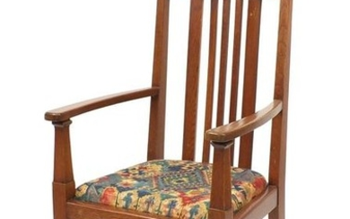 Arts & Crafts oak armchair in the style of Charles
