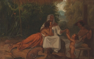 Attributed to Jean Leon Pallière (1823-1887), A Brazilian family under a thatched porch with a slave boy and a fawn, the father serenading, a mountainous landscape beyond