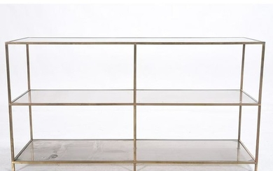 Brass and Glass Three Tier Shelving Unit.