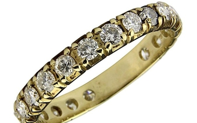 Brilliant memory ring, Germany modern, 585 yellow gold ring bar, set with 20 brilliant-cut diamonds, total 0.90 ct., colour white, clarity si - vsi, ring size 58, weight 2.38 g, not stamped but tested. 2562-0005