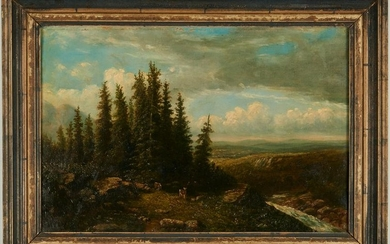 British School O/C Landscape Painting, Deer and Pine
