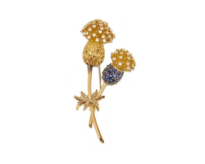 CARTIER 18K Gold, Sapphire, and Diamond Thistle Brooch