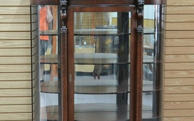 CARVED OAK CURVED GLASS CHINA CABINET