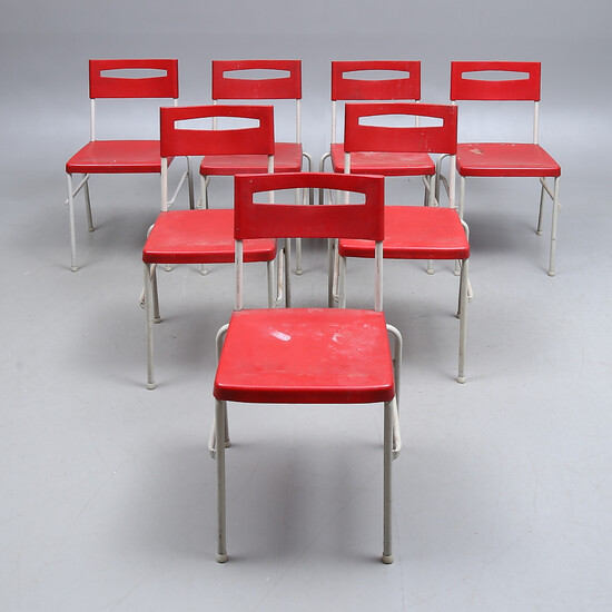 """CHAIRS, 7 pcs, metal and plastic, """"Fantasia"""", 20th century."""