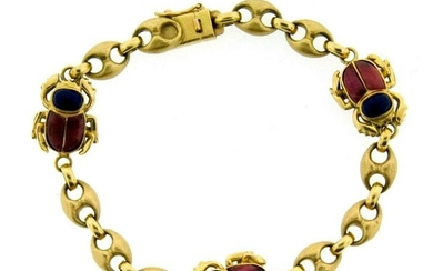CHIC A. Dione 18k Yellow Gold, Rhodonite & Lapis Scarab