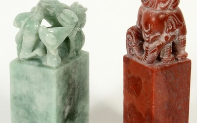 CHINESE HARDSTONE SEALS, 2 PCS, H 3.5""