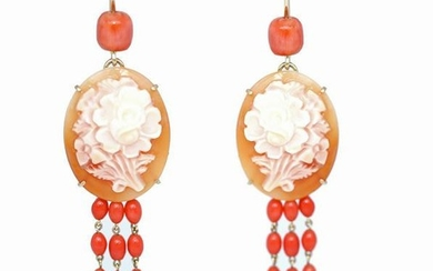 Cameo earrings with carved flowers & coral.