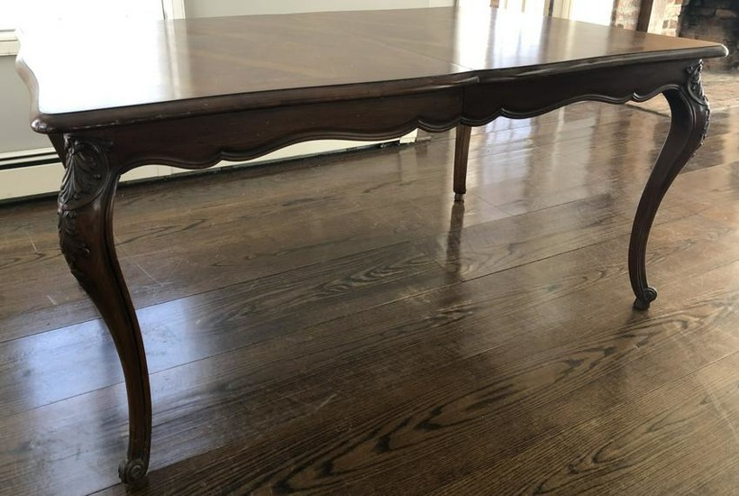 Carved French Country Dining Table w 3 Leaves