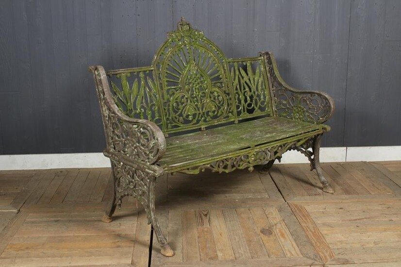 Cast Iron Bench with Arch Back and Floral Decor