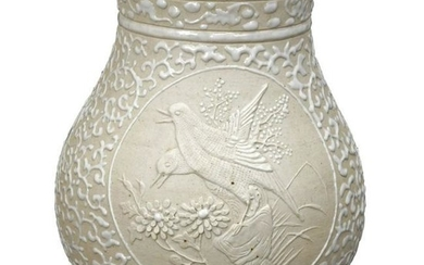 Chinese Biscuit Glazed Porcelain Vase Qing Dynasty 19th
