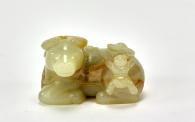 Chinese Carved Jade Pendant of Buffalo