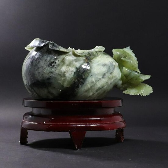 Chinese Green Jade Fish Bowl with Fish on Stand