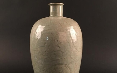Chinese White Glazed Carved Porcelain Mei Ping Vase