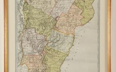 Colored engraved map of Vermont, D.F. Stozmann 1797.