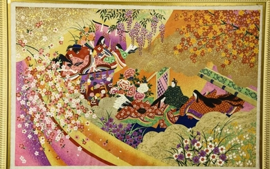 Contemporary Japanese Embellished Silk Screen