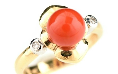 *Coral, Diamond, 14k Gold Ring.