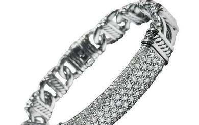 David Yurman Silver Paved Diamonds Madison Cable ID