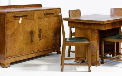 Deco Dining Room Set - Table, Sideboard & 4 Chairs