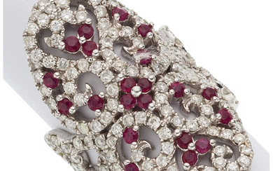 Diamond, Ruby, White Gold Ring The ring features full-cut...