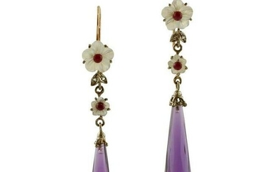 Diamonds Rubies Mother of Pearl Amethyst Rose Gold and