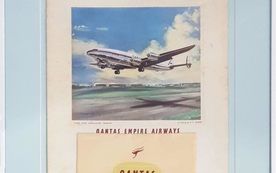 Early Framed Qantas Advertising Board with 1955 Calender (frame size - 64 x 49cm)