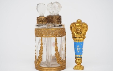 Empire style 19th century scent bottle in bronze and crystal and 19th century enamel and pompom stamp.