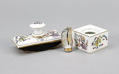 Eraser and inkwell, Meissen, mark 1924-34, 1st quality, polychrome kakiemon painting, yellow tiger decor, gilding, eraser, L. 11 cm, inkwell, lid is missing, 6 x 6 cm