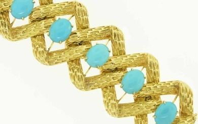 1960s 18K and Turquoise Wide Bracelet, 172 grams