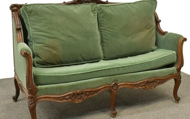 FRENCH LOUIS XV STYLE WALNUT UPHOLSTERED SOFA