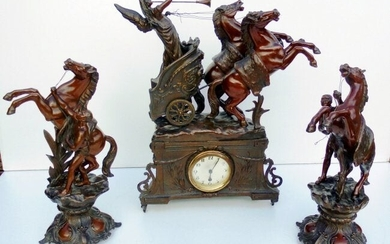 French Bronze Clock with Horses