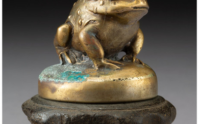 French Gilt Bronze Frog-Form Hood Ornament (circa 1920)