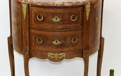 French Louis XVI style demi-lune commode